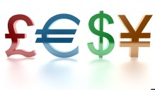 Pound, euro, dollar, yen. Signs. 3d